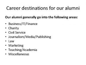 Career destinations for our alumni Our alumni generally