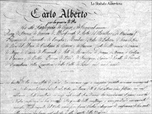 Lo Statuto Albertino Prima dello statuto albertino Le