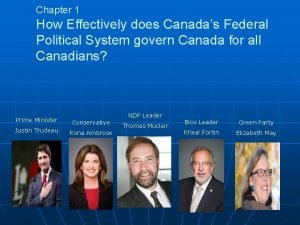 Chapter 1 How Effectively does Canadas Federal Political