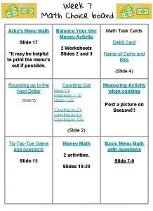 Week 7 Math Choice board Arbys Menu Math