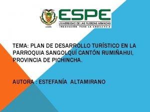 TEMA PLAN DE DESARROLLO TURSTICO EN LA PARROQUIA