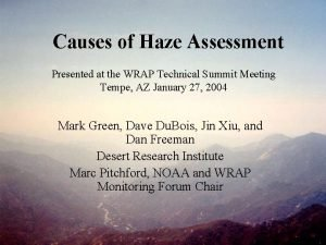 Causes of Haze Assessment Presented at the WRAP