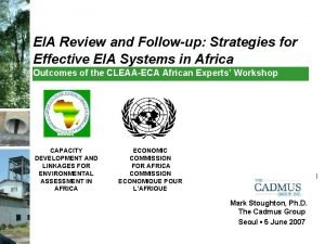 EIA Review and Followup Strategies for Effective EIA