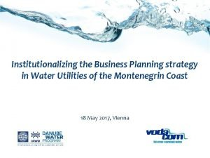Institutionalizing the Business Planning strategy in Water Utilities