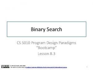 Binary Search CS 5010 Program Design Paradigms Bootcamp