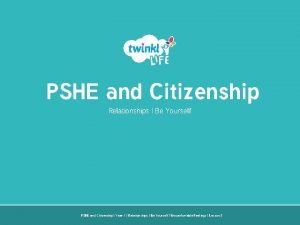PSHE and Citizenship Relationships Be Yourself PSHE and