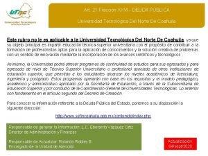 Art 21 Fraccin XXVI DEUDA PBLICA Universidad Tecnolgica