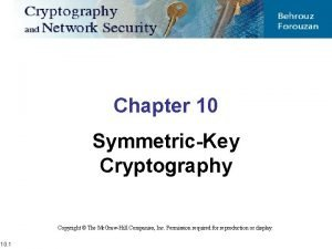 Chapter 10 SymmetricKey Cryptography Copyright The Mc GrawHill