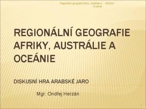Regionln geografie Afriky Austrlie a 362021 Ocenie REGIONLN