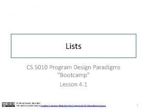 Lists CS 5010 Program Design Paradigms Bootcamp Lesson