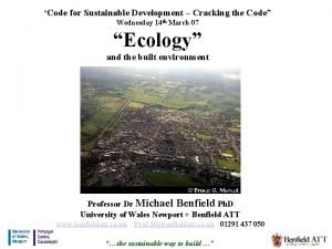 Code for Sustainable Development Cracking the Code Wednesday