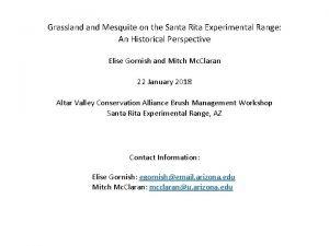 Grassland Mesquite on the Santa Rita Experimental Range