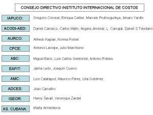 CONSEJO DIRECTIVO INSTITUTO INTERNACIONAL DE COSTOS IAPUCO ACODIAED