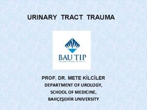 URINARY TRACT TRAUMA PROF DR METE KLCLER DEPARTMENT