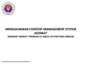 MENGGUNAKAN CONTENT MANAGEMENT SYSTEM JOOMLA MEMBUAT WEBSITE PROMOSI