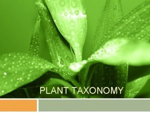 PLANT TAXONOMY Plant Classification In order to study