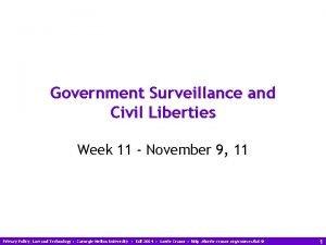 Government Surveillance and Civil Liberties Week 11 November
