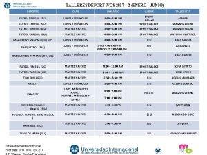 TALLERES DEPORTIVOS 2017 2 ENERO JUNIO DEPORTE DAS
