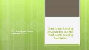 Third Grade Parent Meeting September 19 2014 Third