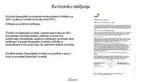 Revizorsko miljenje Reviziju finansijskih izvetaja privrednog drutva Delhaize