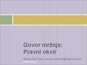 Govor mrnje Pravni okvir Sevima SaliTerzi sevima saliterzicustavnisud