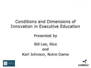 Conditions and Dimensions of Innovation in Executive Education