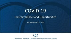 COVID19 Industry Impact and Opportunities Wednesday March 25