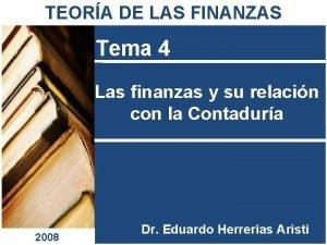 TEORA DE LAS FINANZAS Tema 4 Las finanzas