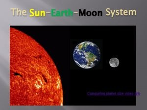 Earth Moon System The Sun Earth Comparing planet