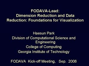 FODAVALead Dimension Reduction and Data Reduction Foundations for