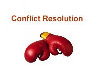 Conflict Resolution Agenda Defining conflict Source of conflict