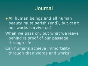 Journal u All human beings and all human