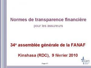 Normes de transparence financire pour les assureurs 34