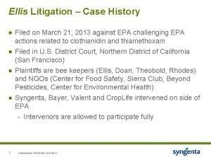 Ellis Litigation Case History Filed on March 21