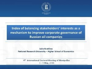 Index of balancing stakeholders interests as a mechanism