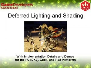Deferred Lighting and Shading 2004 Blue Shift Inc