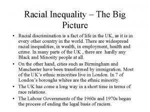 Racial Inequality The Big Picture Racial discrimination is