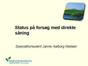 Status p forsg med direkte sning Specialkonsulent Janne