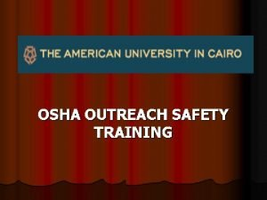 OSHA Outreach Safety Training General Industry Safety Standards