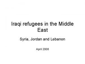 Iraqi refugees in the Middle East Syria Jordan