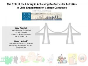 The Role of the Library in Achieving CoCurricular