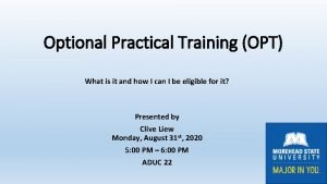 Optional Practical Training OPT What is it and