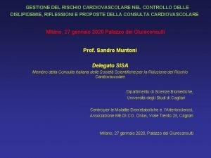 GESTIONE DEL RISCHIO CARDIOVASCOLARE NEL CONTROLLO DELLE DISLIPIDEMIE