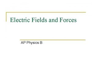 Electric Fields and Forces AP Physics B Electric