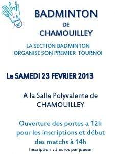 BADMINTON DE CHAMOUILLEY LA SECTION BADMINTON ORGANISE SON
