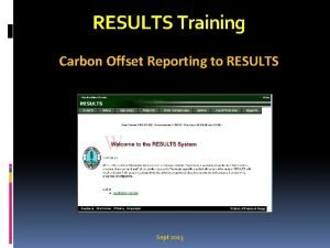 RESULTS Training Carbon Offset Reporting to RESULTS Sept