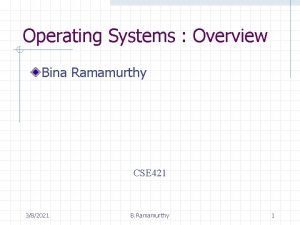 Operating Systems Overview Bina Ramamurthy CSE 421 382021
