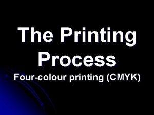 The Printing Process Fourcolour printing CMYK The designer