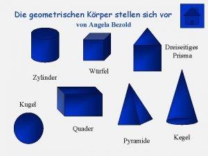 Die geometrischen Krper stellen sich vor von Angela