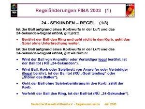Regelnderungen FIBA 2003 1 Deutscher Basketball Bund e